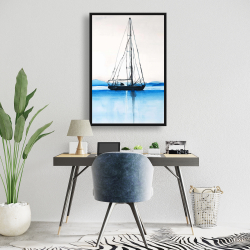 Framed 24 x 36 - Sailboat on a calm water
