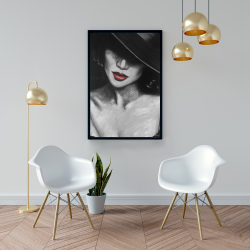 Framed 24 x 36 - Mysterious red lips lady