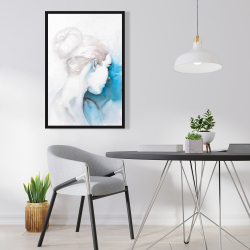 Framed 24 x 36 - Watercolor abstract girl with hair bun