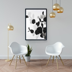 Framed 24 x 36 - Grayscale branches with leaves
