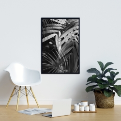Framed 24 x 36 - Monochrome tropicals leaves