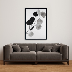 Framed 24 x 36 - Grayscale branch with round shape leaves