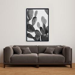 Framed 24 x 36 - Grayscale cactus