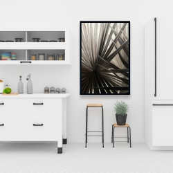 Framed 24 x 36 - Grayscale tropical plants