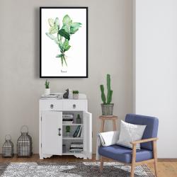 Framed 24 x 36 - Tied up basil leaves bundle - en