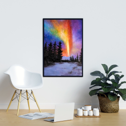 Framed 24 x 36 - Aurora borealis in the forest