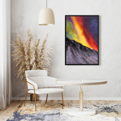 Framed 24 x 36 - Aurora borealis in the mountain