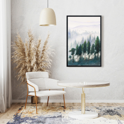 Framed 24 x 36 - Mountains landscape in watercolor