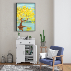 Framed 24 x 36 - Spring lanscape with a tree in a lake