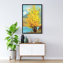 Framed 24 x 36 - Lake landscape with a tree and reflection