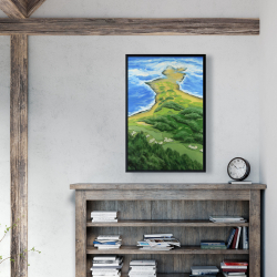 Framed 24 x 36 - Island overhead view with waves