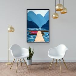 Framed 24 x 36 - Lake, quai & mountains