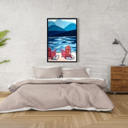 Framed 24 x 36 - Lake, dock, mountains & chairs