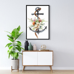 Framed 24 x 36 - Anchor with flowers