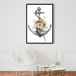 Framed 24 x 36 - Boat anchor with flowers