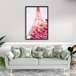 Framed 24 x 36 - Pink eiffel tower