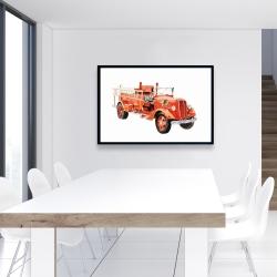 Framed 24 x 36 - Vintage fire truck