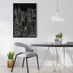 Framed 24 x 36 - Illustrative city towers