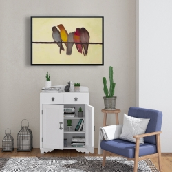 Framed 24 x 36 - Five birds on a branch