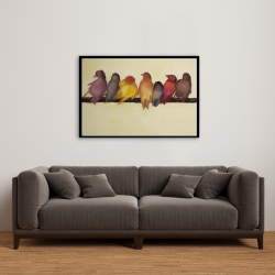 Framed 24 x 36 - Bird family