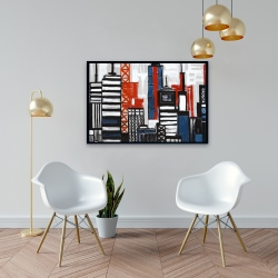 Framed 24 x 36 - Geometric towers and buildings