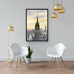 Framed 24 x 36 - Sunset over new york city