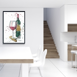 Framed 24 x 36 - Bottle of red wine