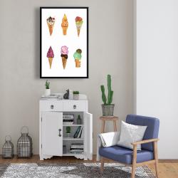 Framed 24 x 36 - Ice cream cones