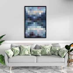Framed 24 x 36 - Pixelated mountainous landscape