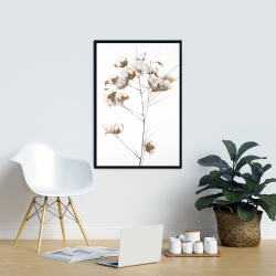 Framed 24 x 36 - Cotton flowers branch
