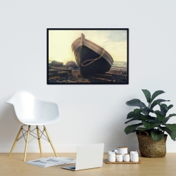 Framed 24 x 36 - Rowboat at the water's edge