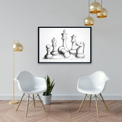 Framed 24 x 36 - Chess game pieces