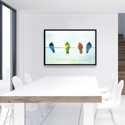 Framed 24 x 36 - Perched abstract birds
