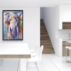 Framed 24 x 36 - Elephant in pastel color