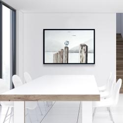 Framed 24 x 36 - Seagull at the marina