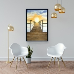Framed 24 x 36 - Sunset in the sea
