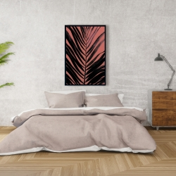 Framed 24 x 36 - Coral tropical palm leave