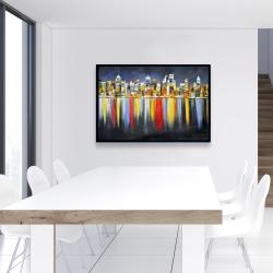 Encadré 24 x 36 - Réflexion colorée d'un paysage urbain de nuit