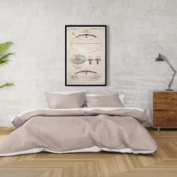 Framed 24 x 36 - Beige blueprint of a foot ball
