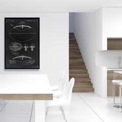 Framed 24 x 36 - Black blueprint of a foot ball
