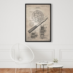 Framed 24 x 36 - Beige blueprint of a fishing reel