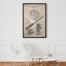 Framed 24 x 36 - Beige blueprint of a fishing reel