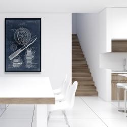 Framed 24 x 36 - Blueprint of a fishing reel