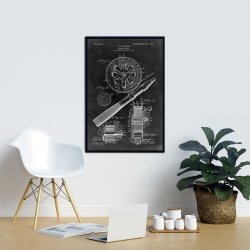 Framed 24 x 36 - Black blueprint of a fishing reel