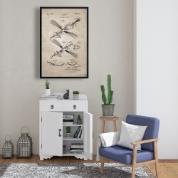 Framed 24 x 36 - Beige blueprint of a fish lure
