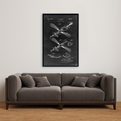 Framed 24 x 36 - Black blueprint of a fish lure