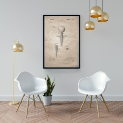 Framed 24 x 36 - Beige blueprint of golf tee