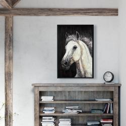 Framed 24 x 36 - White star horse