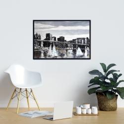Framed 24 x 36 - Brooklyn bridge with sailboats