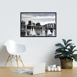 Framed 24 x 36 - Brooklyn bridge with sailboats